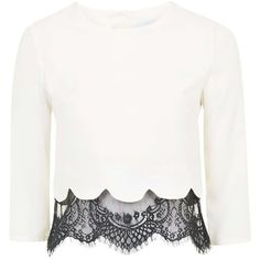 Esmerelda Scallop and Lace Hem Blouse by Jovonna ($69) ❤ liked on Polyvore featuring tops, blouses, white, white lace blouse, topshop blouse, scalloped lace top, lace blouse and vintage blouse