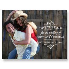 Love the fun, laid-back picture Simple Vintage Save the Date Postcard