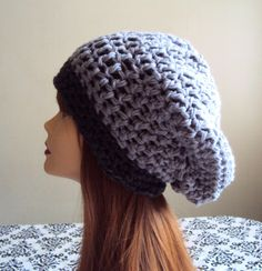 Baggy Hat Super Slouchy Beanie Grey - Charcoal Chunky Hat Crochet Baggy Hat Women Winter Clothing Accessory Unique Gift Ideas by GrahamsBazaar, $39.99