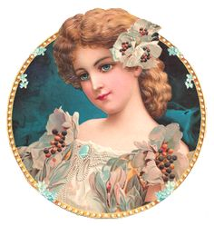 Antique Images:Victorian Graphic: Beautiful Woman with White Flowers in Gold and Pearl Frame