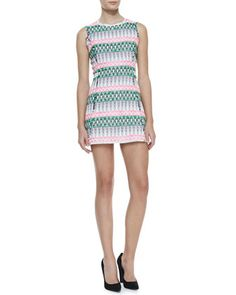 Raw-Edge-Trim Tweed Dress by Milly at Neiman Marcus.