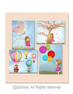 Childrens room art, girls wall art, kids room decor