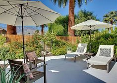Palm Springs Retreat for Between dips, dry off in our comfy, shaded loungers. Resort-like perks you don't have to share! Palm Springs Vacation Rentals, Private Pool, Mountain View, View Photos, Dips, Swimming, Comfy, Patio, Contemporary