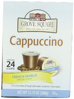 Grove Square Cappuccino, French Vanilla, 24 Count Single Serve Cups ** Trust me, this is great! Click the image. : K Cups K Cups, French Vanilla, Coffee Machine, Keurig, Drinking Tea, Gourmet Recipes, Count, Cappuccinos, Beverages