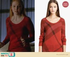 Alexis's red check sweater on Castle. Outfit Details: http://wornontv.net/25881 #Castle #fashion