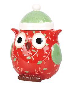 Look at this #zulilyfind! Holiday Owl Cookie Jar #zulilyfinds