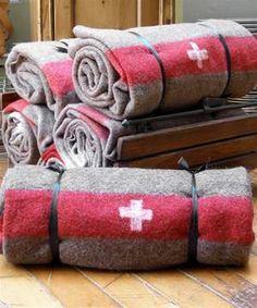 Dating from the 1930's - 1950's, these thick wool blankets are the genuine article produced for the Swiss Army.