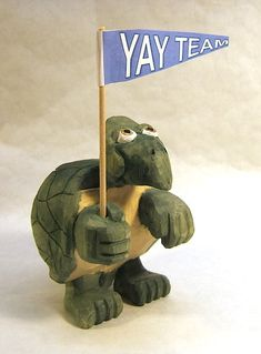 Handmade Sports Fan Turtle Unique Gift Decorative Art Sculpture Wood Carving