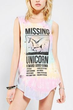 Truly Madly Deeply Missing Unicorn Muscle Tee #urbanoutfitters haha this is so funny if you have actually read the smaller print on the shirt.