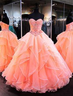 ca0975088e30 Ball Gown Sweetheart Coral Satin Organza Ruffle Puffy Quinceanera Prom Dress