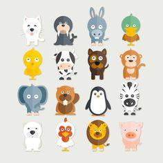 Cute Funny Animals Pack Clip Art Vector - AP02 by EtsiCoDesign on Etsy