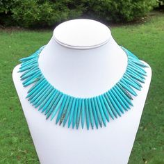 Saraya  Ethnic Chunky Graduated Spike Turquoise Blue by Tessyla, $88.50