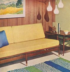 yellow couch...tri light pendant