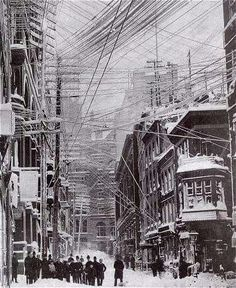 "The Great Blizzard of 1888 (March 11 – March 14, 1888) was one of the most severe recorded blizzards in the history of the USA. ""The Great White Hurricane"", paralyzed the East Coast, as well as the Atlantic provinces of Canada. Streets in New York City as the storm hit. Many overhead wires broke and presented a hazard to city dwellers."