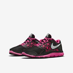 Nike Flex Supreme Tr 4 Gs Kids 759998-001 Black Pink Training Shoes Girls Size 7
