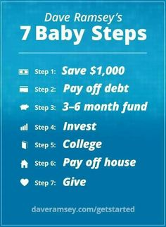 Dave Ramsey's 7 Steps. I love Dave Ramsey!! Because of him we have been debt free for 2 years now. Debt Free Stories #debt Debt Payoff 21 Things, Weather, Weather Crafts