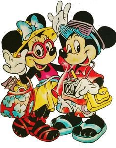 Minnie & Mickey are heading off to their tropical paradise adventure Disney Cartoon Characters, Disney Films, Disney Cartoons, Cartoon Art, Mickey Mouse Pictures, Mickey Mouse And Friends, Mickey Minnie Mouse, Disney Magic, Disney Art