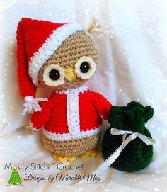 Holiday Hoots; Santa Owl pattern by Meredith May