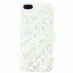 Luxury 3D Cute Handmade White Cloth Rose Pearls Case Cover for IPHONE5 5g | eBay