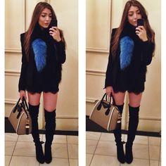 kooples lace shorts, stuart weitzman boots, charlotte simone popsicle faux fur scarf