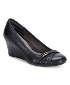 Loving this Black Aubrey Wedge Pump on #zulily! #zulilyfinds