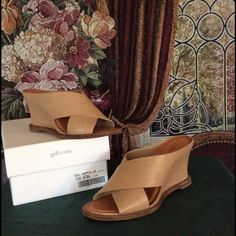 "❤️ SALE❤️ NIB Natural Leather Wedges Brand new natural leather shoes. Never worn. Beautiful summer and fall shoes. 3 1/2"" heel height. Perfect with shorts, skirts or dresses! J. Jill Shoes Sandals"