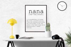 DEFINITION OF NANA Funny Wall Art Printable by TypoWorld on Etsy