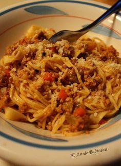 Pasta Alla Ragu Bolognese by Annie Babineau Ragu Bolognese, Bolognese Recipe, Gourmet Recipes, Healthy Recipes, Delicious Recipes, Mario Batali, Pasta Sauce Recipes, Recipe Today, Italian Recipes