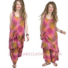 SunHeart Ruched 2 Layer Top or Dress Lagenlook RESORT WEAR FESTIVAL Layering Boho Hippie Chic One Size Small Med Large Xl