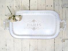 Paris Platter Vintage White Footed Platter by Swede13Cottage