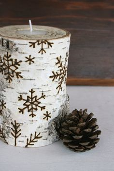 Snowflakes on Birch Wooden Tealight Holders Woodburning