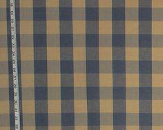 Buffalo check fabric slate blue tan from Brick House Fabric: Novelty Fabric