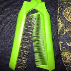 REMEMBER THESE?...A FOLDING BRUSH AND COMB COMBO? THE ONE I HAD WASN'T LIME GREEN, IT WAS PINK