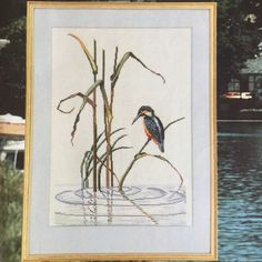 Vintage Eva Rosenstand Kingfisher linen cross stitch kit - advanced level by KindredClassics on Etsy Easy Stitch, Stitch Kit, Neutral Colors, Colours, Dark Red Background, Needlepoint Kits, Kingfisher, Cool Designs, Cross Stitch