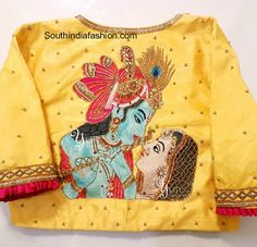 In a Spiritual Spree! Only way you can conquer Him is through Love and there He is gladly conquered! Radhe❤Krishna by YUTI! For Orders and Queries reach us at or Address: Valmiki street, Thiruvanmyur, Chennai. Best Blouse Designs, Simple Blouse Designs, Bridal Blouse Designs, Saree Blouse Neck Designs, Fabric Paint Designs, Maggam Work Designs, Designer Blouse Patterns, Blouse Models, Work Blouse