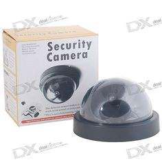 Realistic design- Camera LED blinks/flashes, just like real security cameras- Cheap decoy/dummy camera to scare off potential thefts- Virtually undistinguishable design, mix with real cameras to dramatically increase effectiveness at minimal cost- Built-in infrared PIR motion detector- Easily mountable on walls and ceilings- Screws and wall mounting sockets included- 1 set of batteries run for 1 month in typical usage conditions- Powered by 2 x AA batteries http://j.mp/1p0YUwK