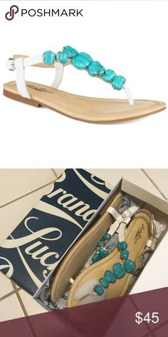 Lucky Brand Turquoise Sandals NIB! Brand New Lucky Brand Turquoise Sandals. Size 9. Style LK-BRYNN , Color/Material: White Montana. Leather Upper Man Made Lining and Sole. Lucky Brand Shoes Sandals
