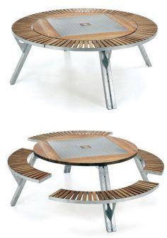 Mesa redonda con bancos