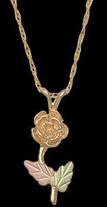 Black Hills Gold Rose Necklace
