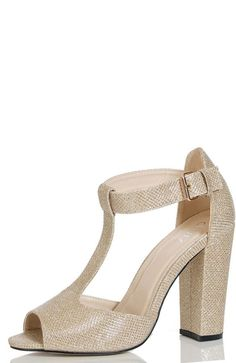 Quiz Gold shimmer block heel shoes- at Debenhams Mobile | gold ...