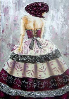 Menina moderna de espaldas SP640 Unique Art, Art Girl, Diy And Crafts, Strapless Dress, Glamour, Disney Princess, Disney Characters, Canvas, Inspiration