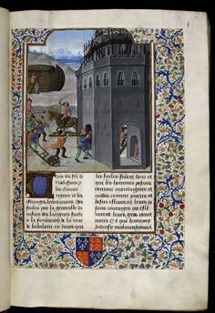 Tower of Babel. Illustration to the Le recoeil des histoires de Troyes by Raoul Lefèvre  Royal 17 E II folio 8  British Library, London, England  Netherlands (Bruges), circa 1475–1483