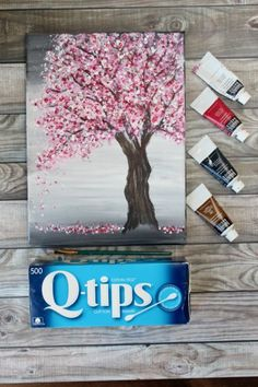 Painting a Cherry Blossom Tree with Acrylics and Cotton Swabs! - - Looking for an EASY cherry blossom tree painting tutorial? Use a canvas, acrylics & Q-Tips to make this simple step-by-step cherry blossom tree painting. Easy Canvas Art, Simple Canvas Paintings, Small Canvas Art, Easy Canvas Painting, Mini Canvas Art, Diy Painting, Cotton Painting, Trippy Painting, Easy Acrylic Paintings