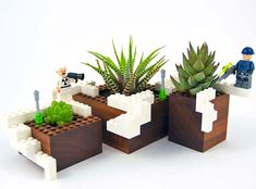 The new Plant Experiment by NOTlabs is a limited collection of LEGO-like walnut planters.