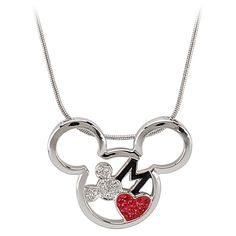 Red Heart Mickey Mouse Necklace