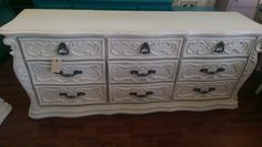 """This is a long, heavy and ornate dresser! I have a complementary chest of drawers for it as well if you are looking for a new bedroom set. You could also use this as a great tv stand. What do you think? The dimensions are 74"""" L, 20"""" W, 31"""" H. SOLD!! for $425"""