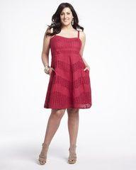 eyelet dress, Addition Elle, plus size, fashion, trends, plus size dress