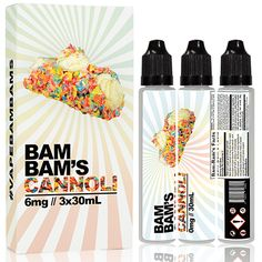 Bam Bams Cannoli Original - This isn't your grandmas cannoli….Bam Bam's Cannoli is key lime filling rolled in a layer of your favorite fruity cereal, and topped off with a dollop of homemade whipped cream. All three tasty ingredients are perfectly balanced to make a sweet cereal dessert you'd never expect.70% VGBox contains Three 30ml Unicorn bottles of juice.