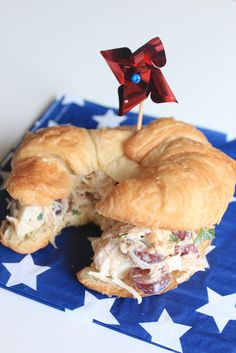 Chicken Salad; add grapes, cranberries, apples parsley and/or walnuts... serve on a croissant