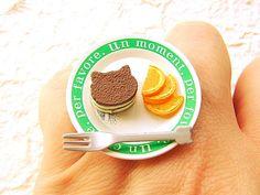 Kawaii Food Ring Chocolate Cake Cat Orange